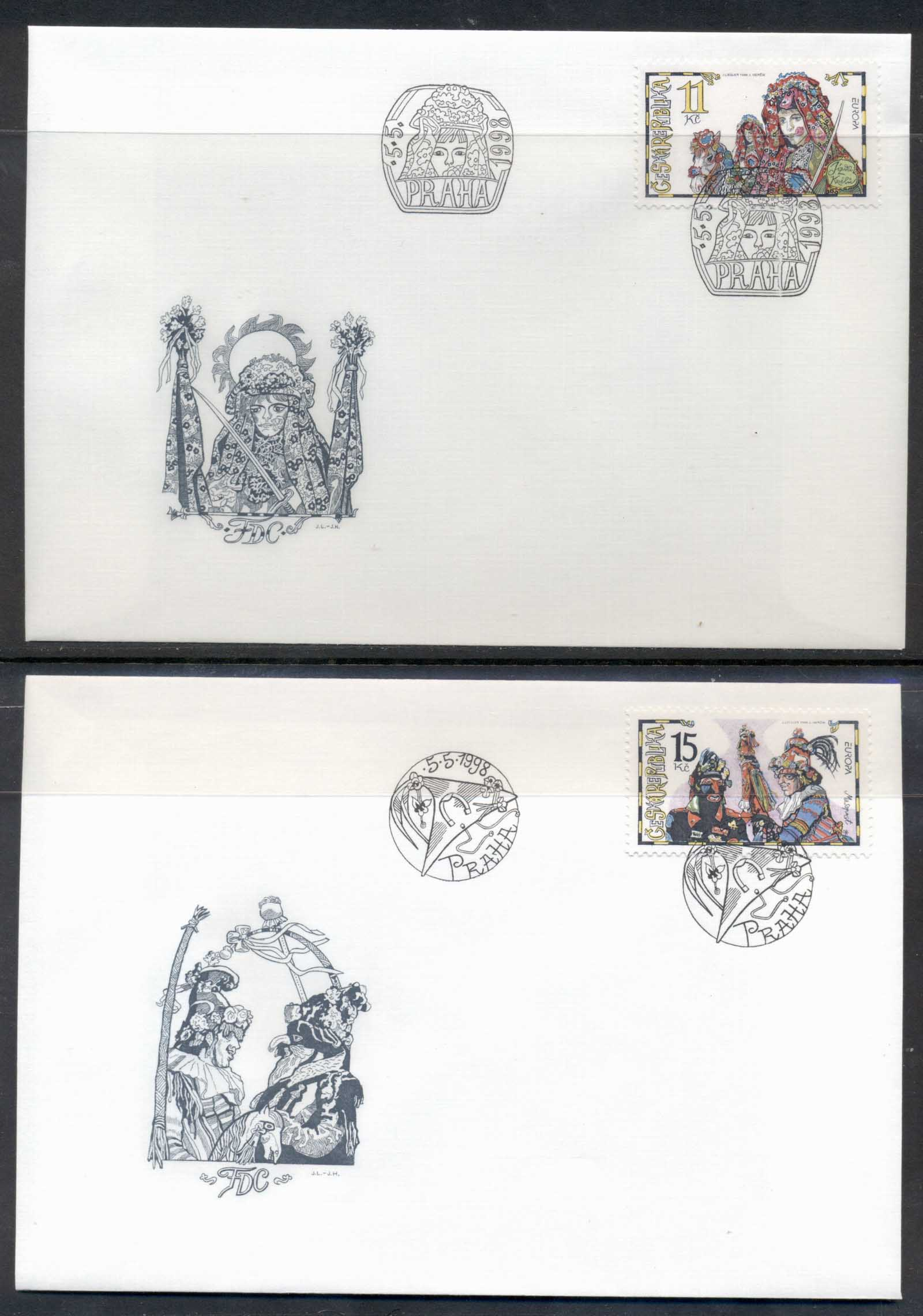 Czech Republic 1998 Europa Holidays & Festivals 2x FDC