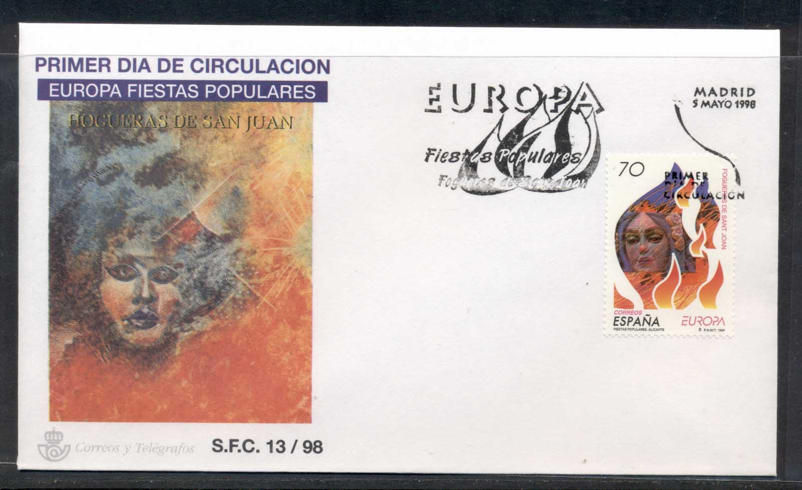 Spain 1998 Europa Holidays & Festivals FDC