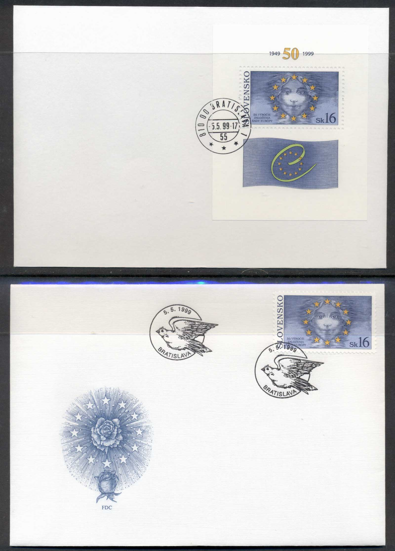 Slovakia 1999 Council of Europe + MS 2x FDC
