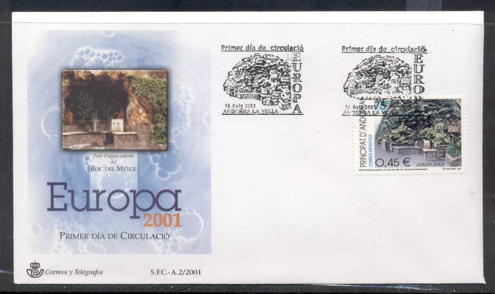 Andorra (Sp) 2001 Europa Water FDC