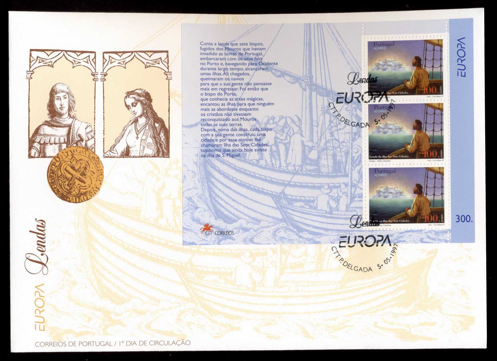 Azores 1997 Europa Myths & Legends MS XLFDC