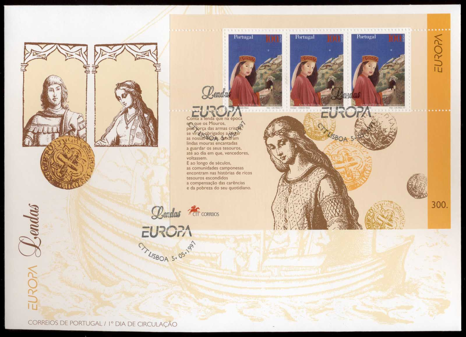 Portugal 1997 Europa Myths & Legends MS XLFDC