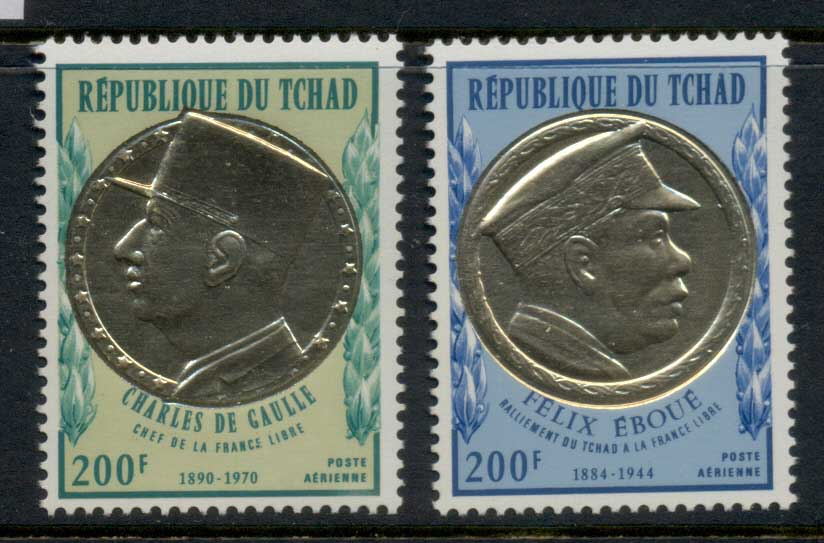 Chad 1971 De Gaulle, gold foil embossed MUH