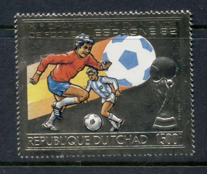 Chad 1982 World Cup Soccer Spain Gold embossed MUH