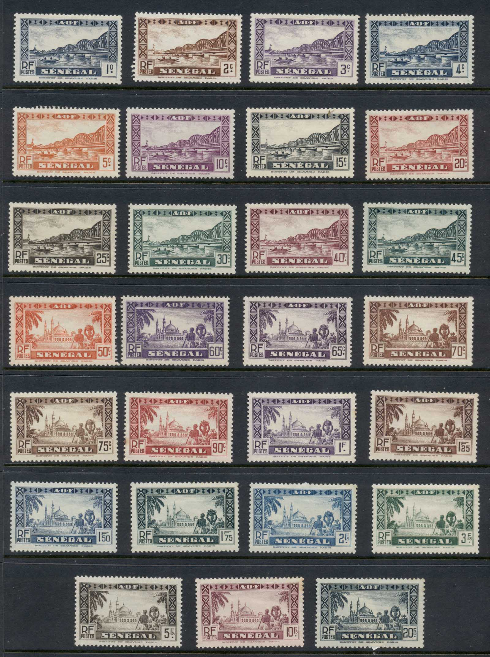 Senegal 1935-40 Pictorials Asst (small faults) (27/30) MLH