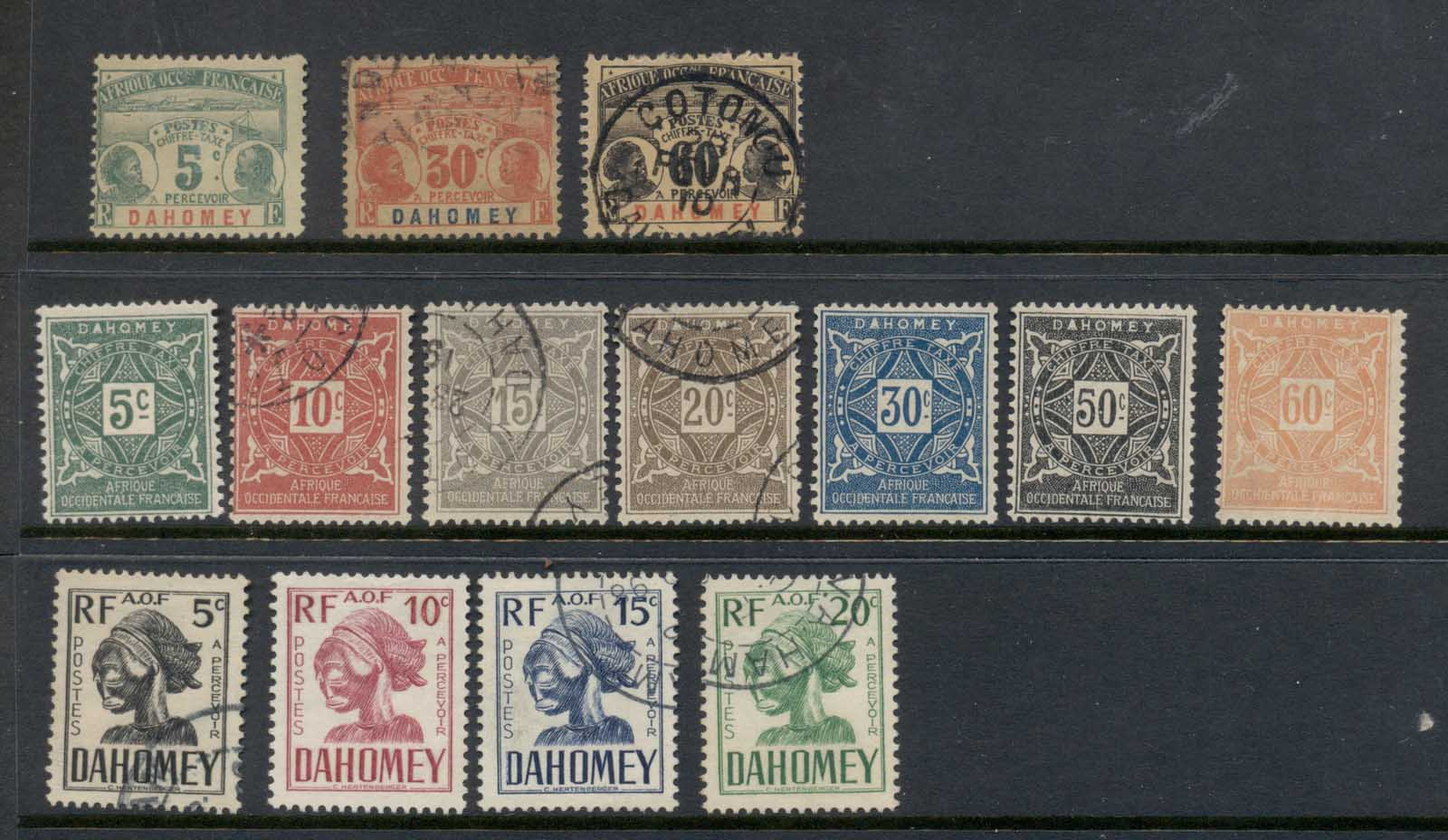 Dahomey 1906 on Postage Dues Asst FU/MLH