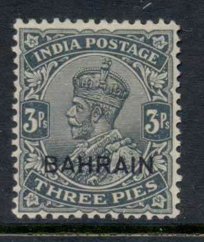 Bahrain 1933 KGv Opt on India 3p MLH