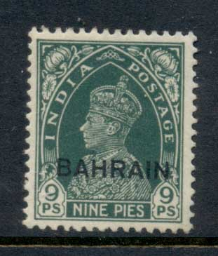 Bahrain 1938-41 KGVI Opt on India 9p MLH
