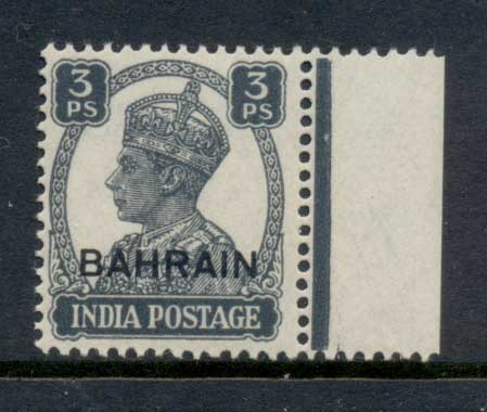 Bahrain 1942-44 KGVI Opt on India 3p MUH