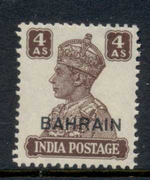 Bahrain 1942-44 KGVI Opt on India 4a MLH