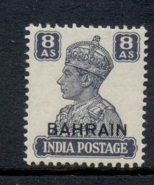 Bahrain 1942-44 KGVI Opt on India 8a MLH