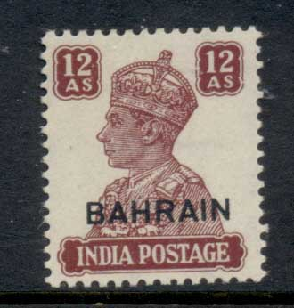 Bahrain 1942-44 KGVI Opt on India 12a MLH
