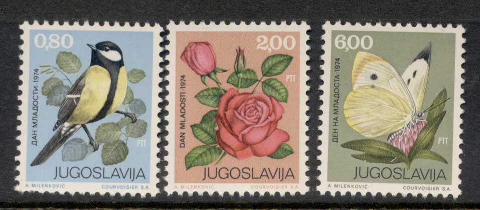 Yugoslavia 1974 Youth Day, Bird, Flower, Butterfly MUH
