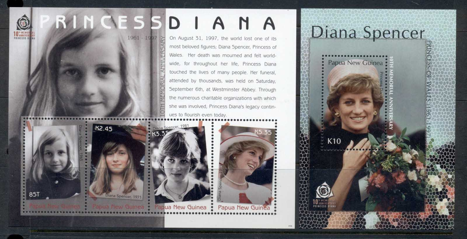PNG 2007 Princess Diana 10th death Anniv 2xMS MUH
