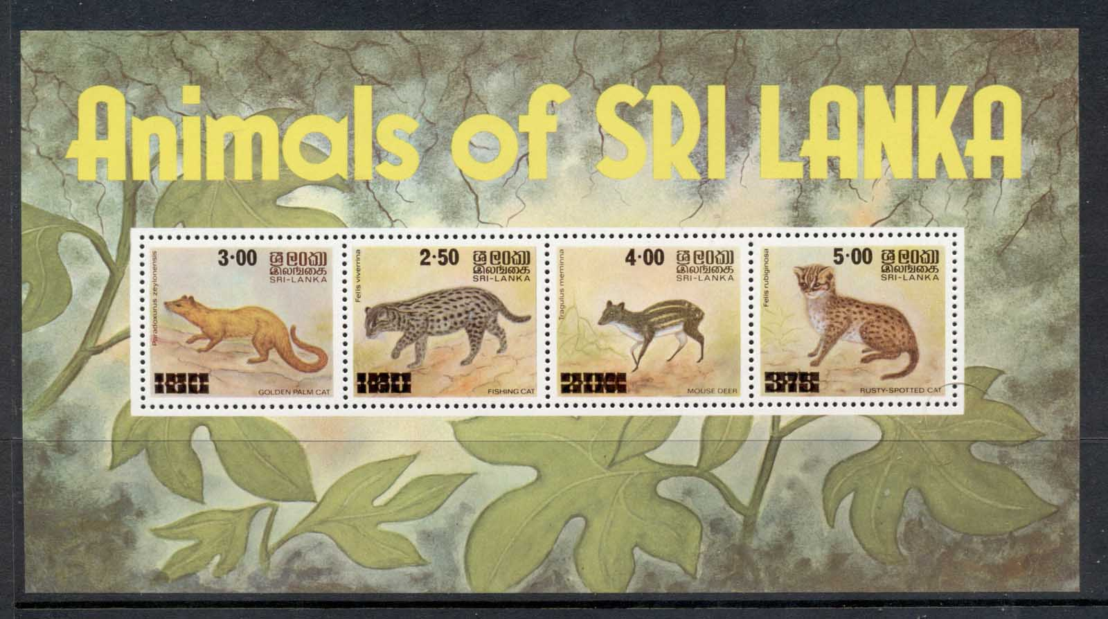 Sri Lanka 1980 Animals of Sri Lanka Surch. MS MUH