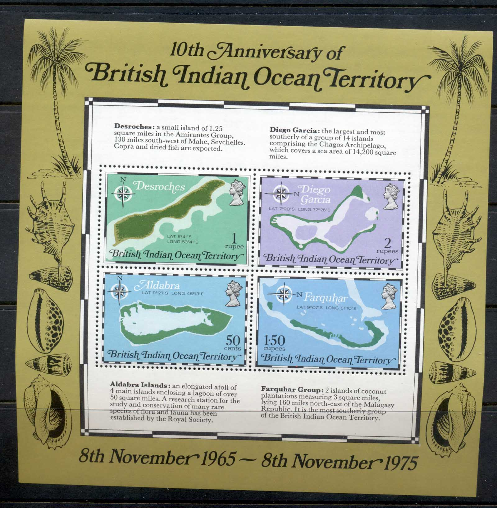 BIOT 1975 10th Anniversary, Island Maps MS MUH