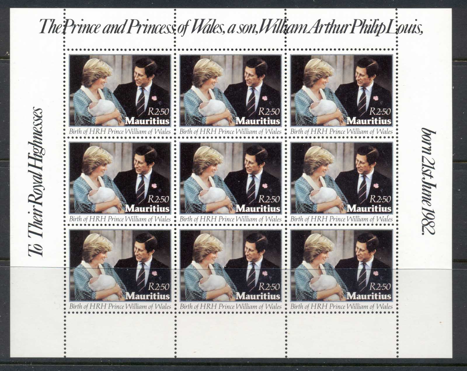 Mauritius 1982 Birth of Prince William, Diana & Charles sheet MUH