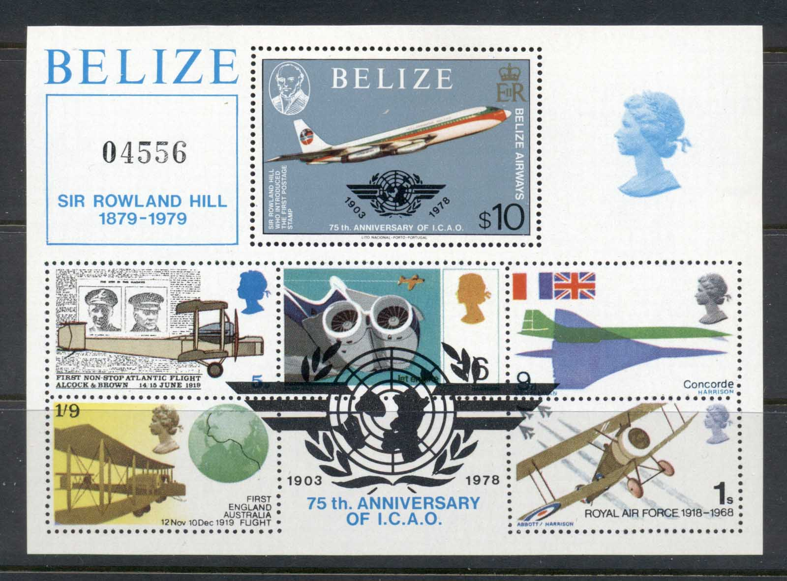Belize 1979 Sir Rowland Hill Death Centenary, Powered Flight MS MUH