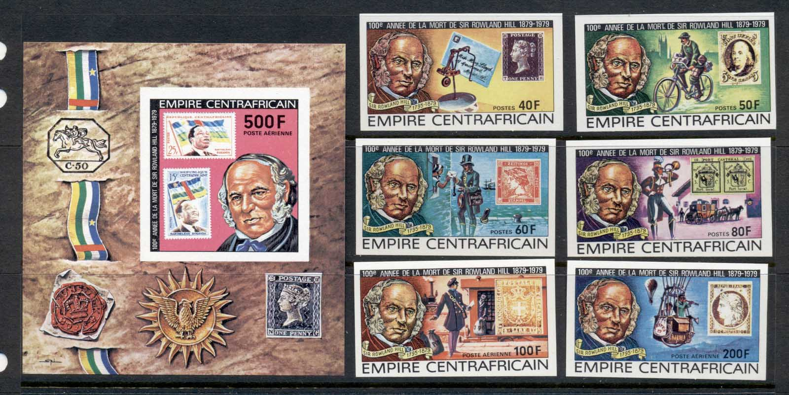 Central African Republic 1979 Sir Rowland Hill Death Centenary + MS IMPERF MUH