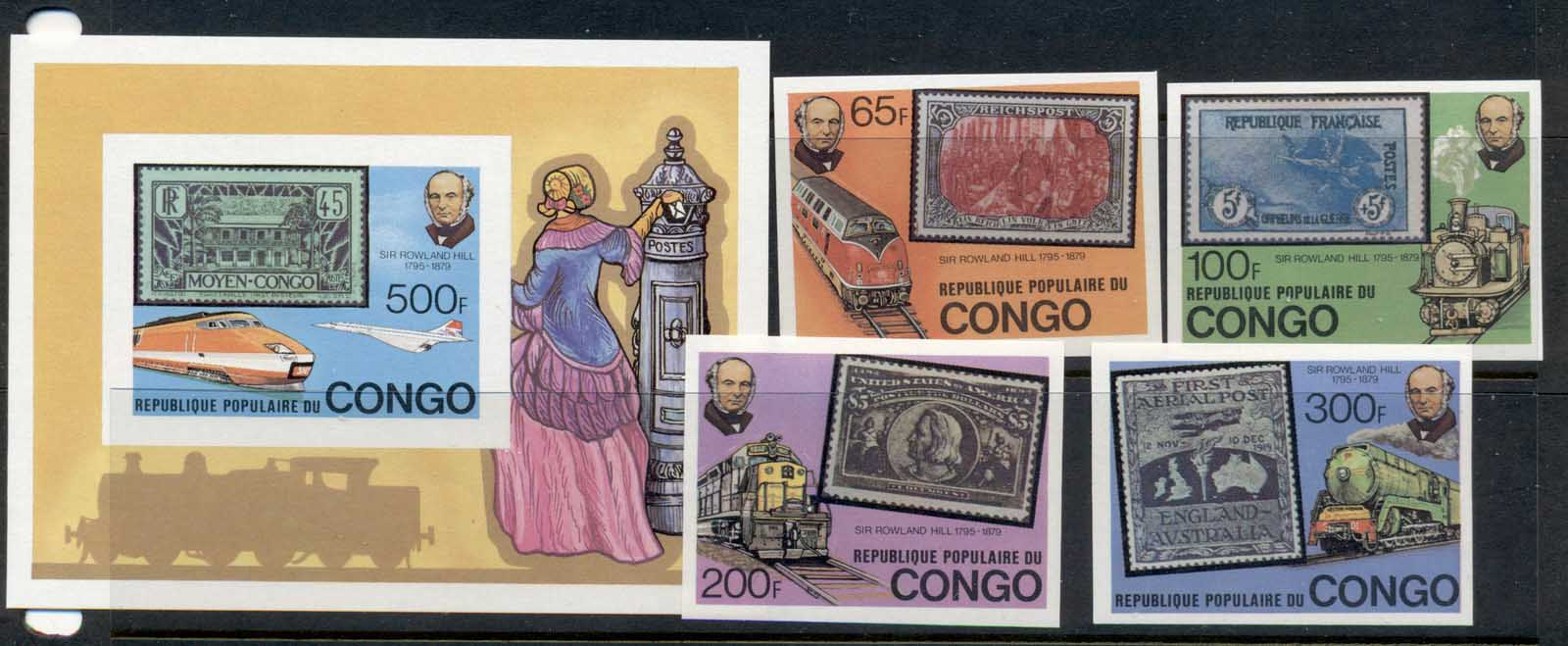 Congo 1979 Sir Rowland Hill Death Centenary + MS IMPERF MUH