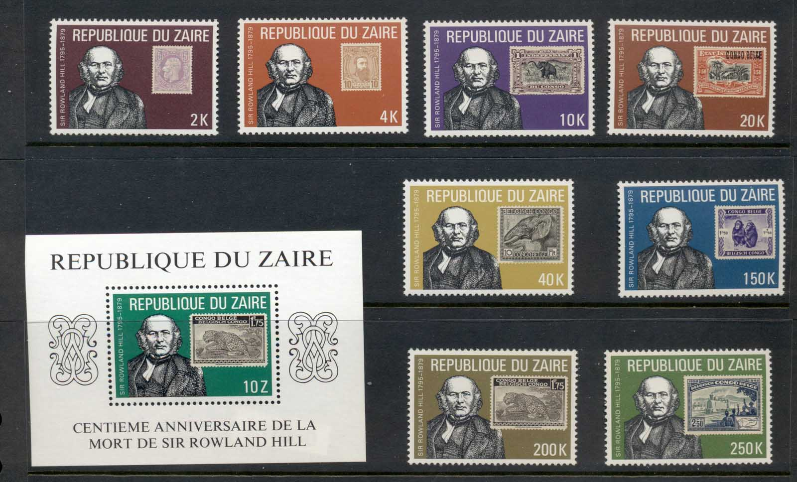Zaire 1980 Sir Rowland Hill Death Centenary +MS MUH