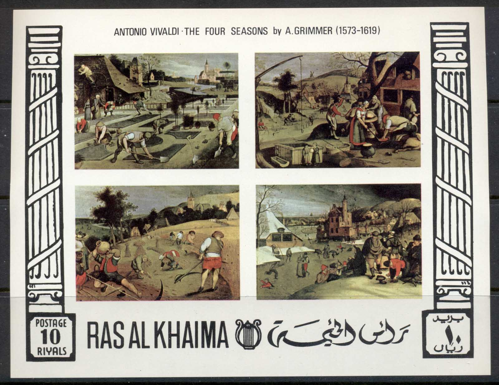 Ras Al Khaima 1969 Mi#MS70b Paintings of the Four Seasons by Grimmer IMPERF MS MUH