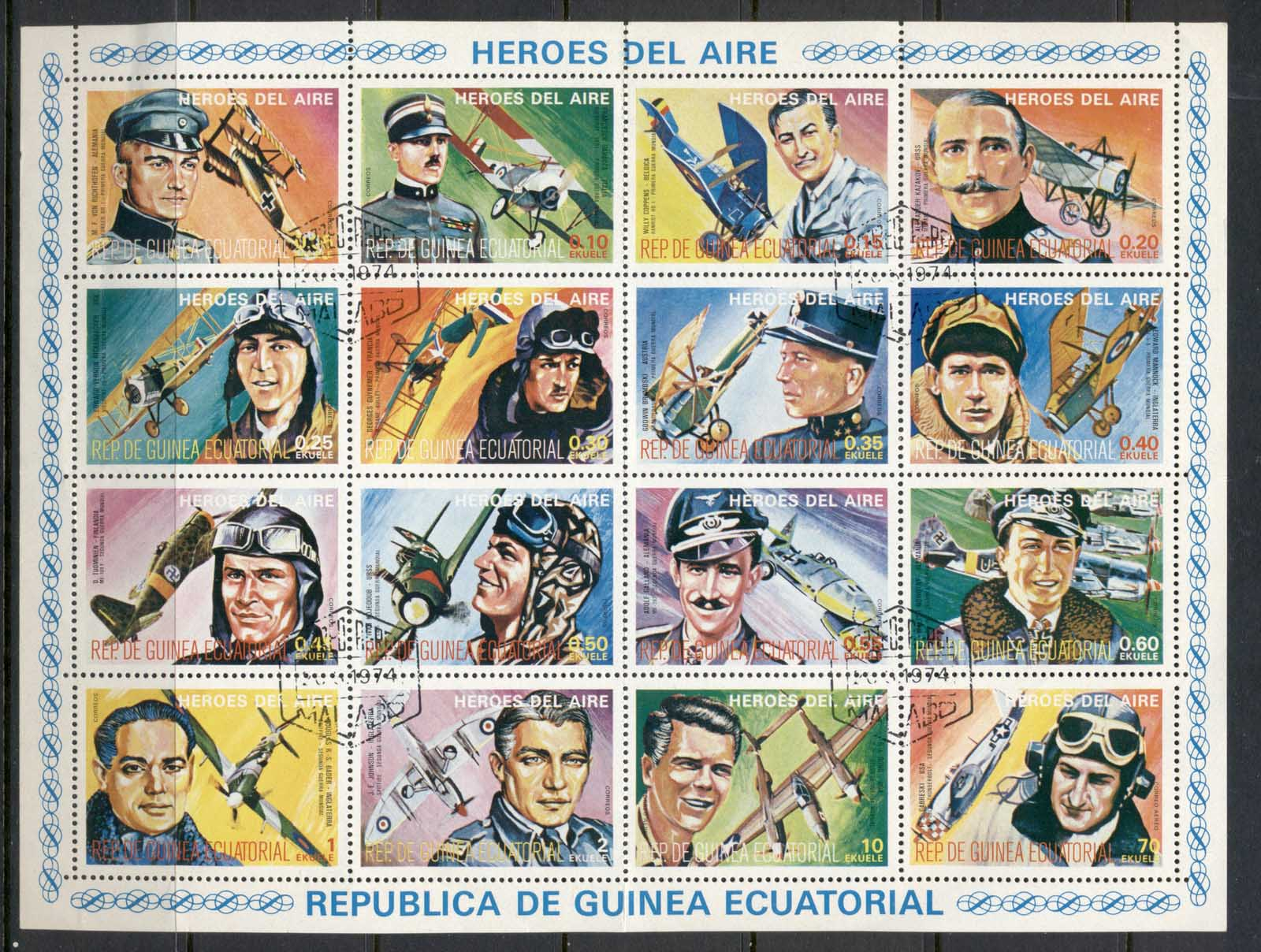 Equatorial Guinea 1974 Heroes of the Air sheet CTO