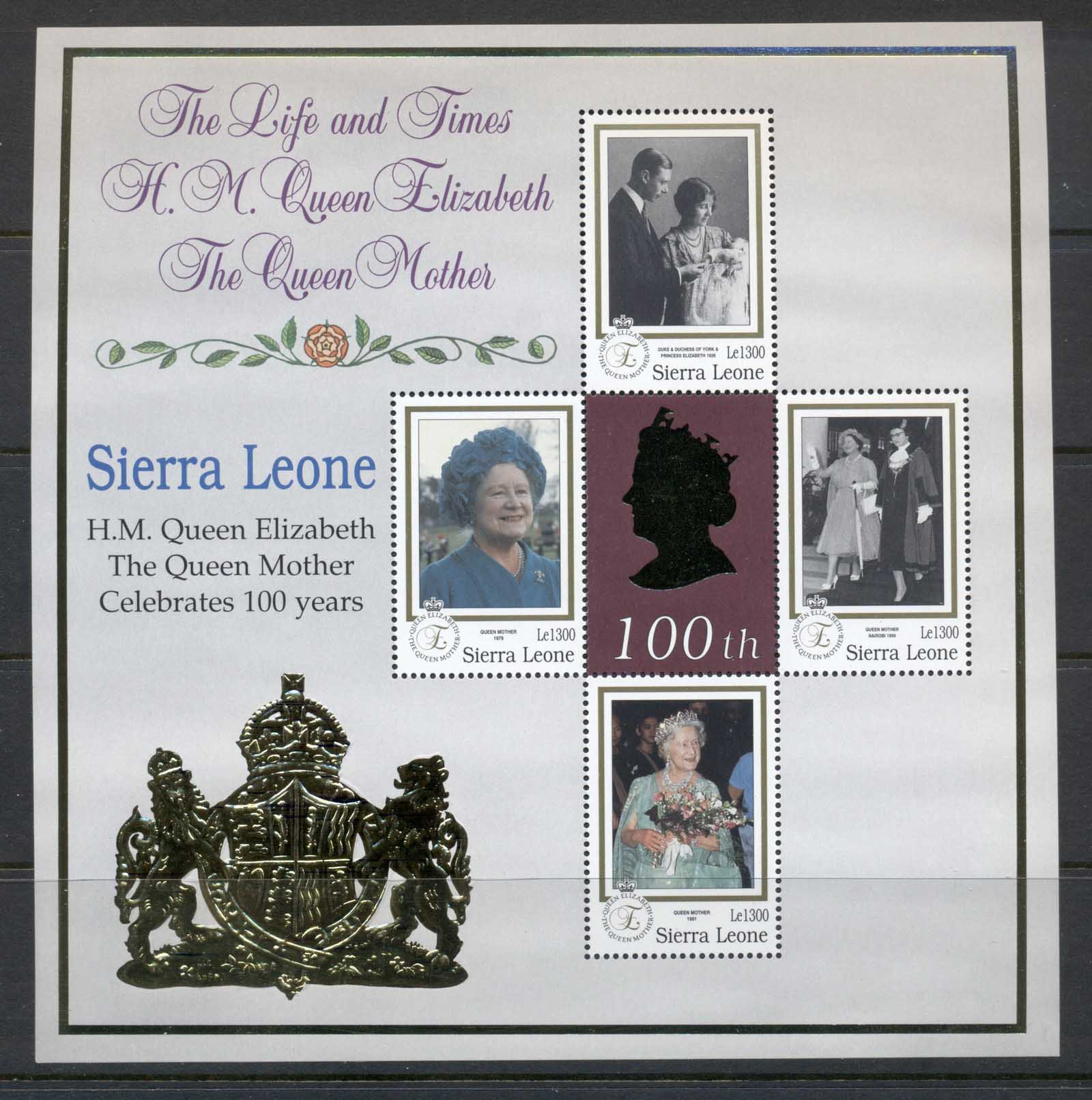 Sierra Leone 1999 Queen Mother 100th Birthday 1300l MS MUH