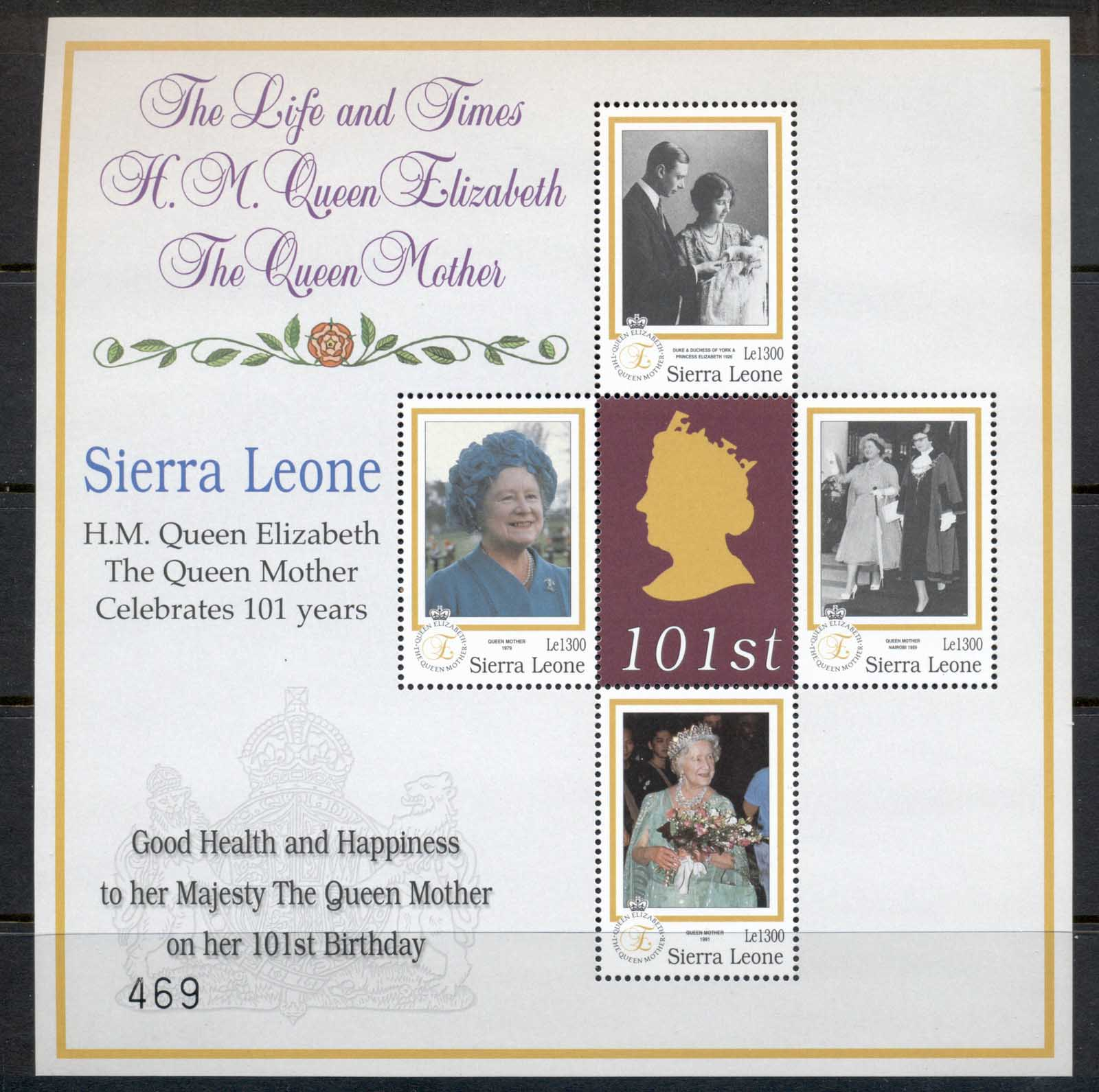 Sierra leone 2001 Queen Mother 101st Birthday MS MUH
