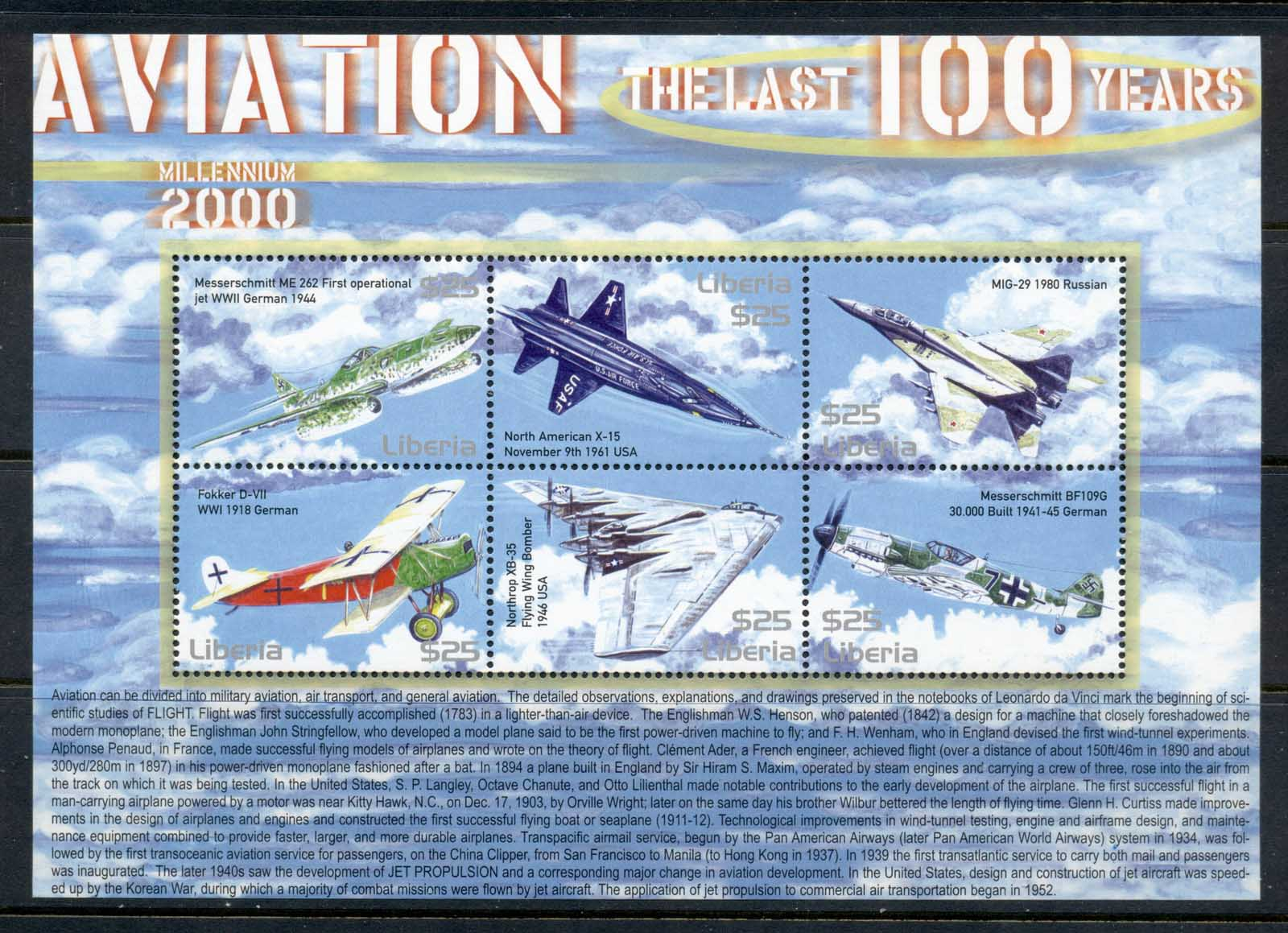 Liberia 2000 Aviation the Last 100 years sheetlet MUH