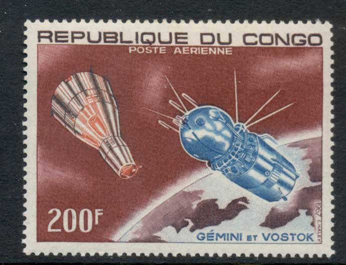 Congo 1967 Spacecraft Gemini & Vostok 200f MLH