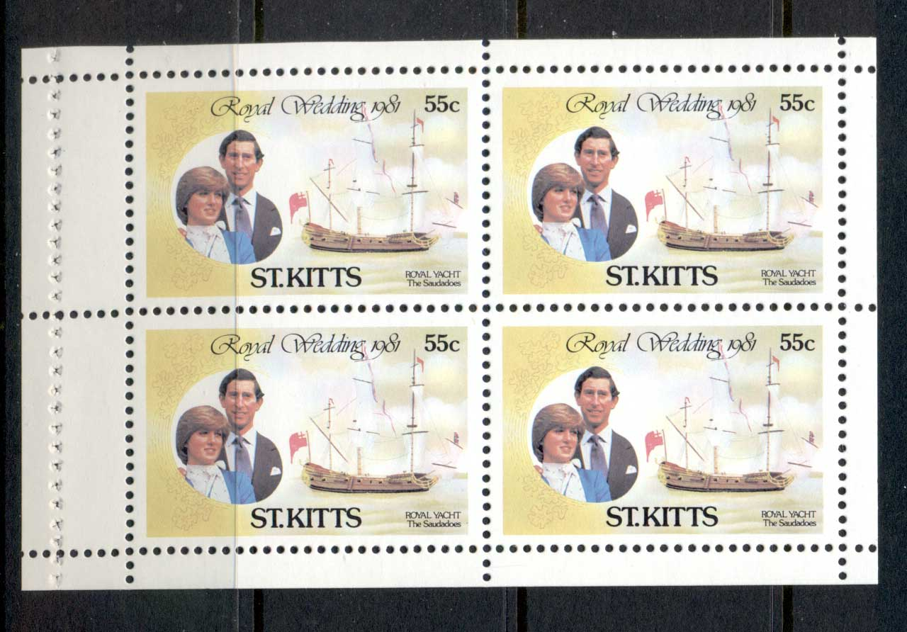 St Kitts 1981 Royal Wedding Charles & Diana 55c booklet pane MUH