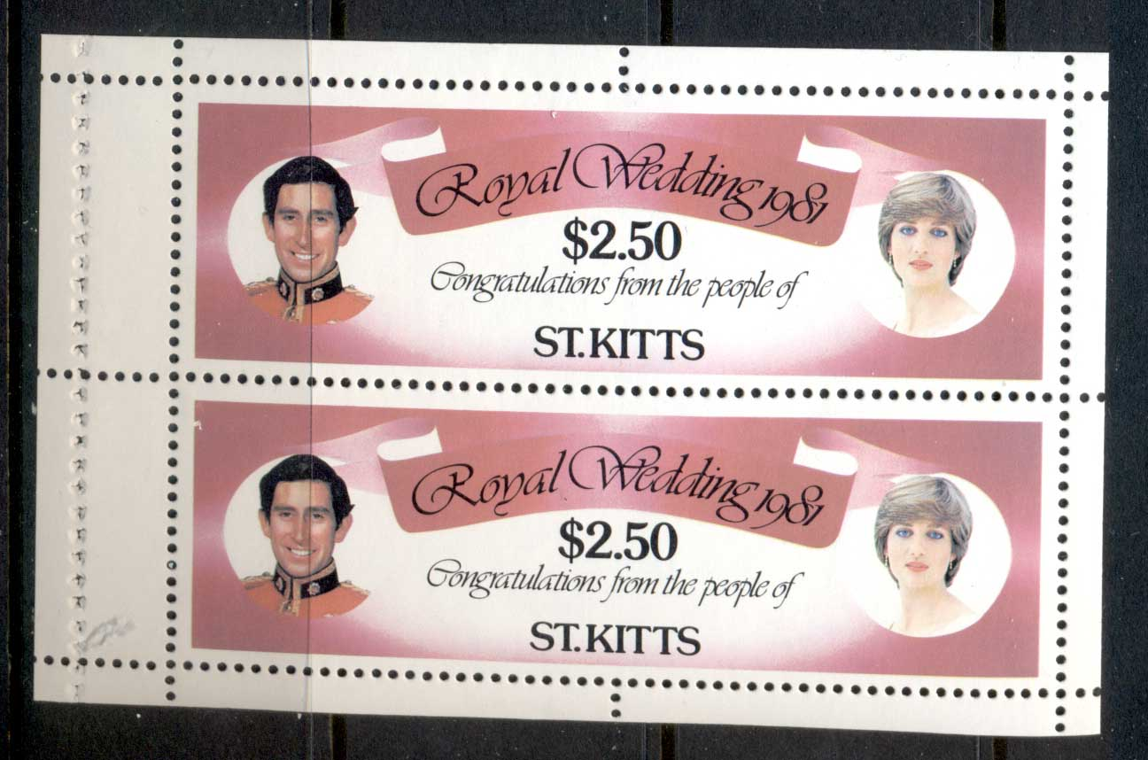 St Kitts 1981 Royal Wedding Charles & Diana $2.50 booklet pane MUH