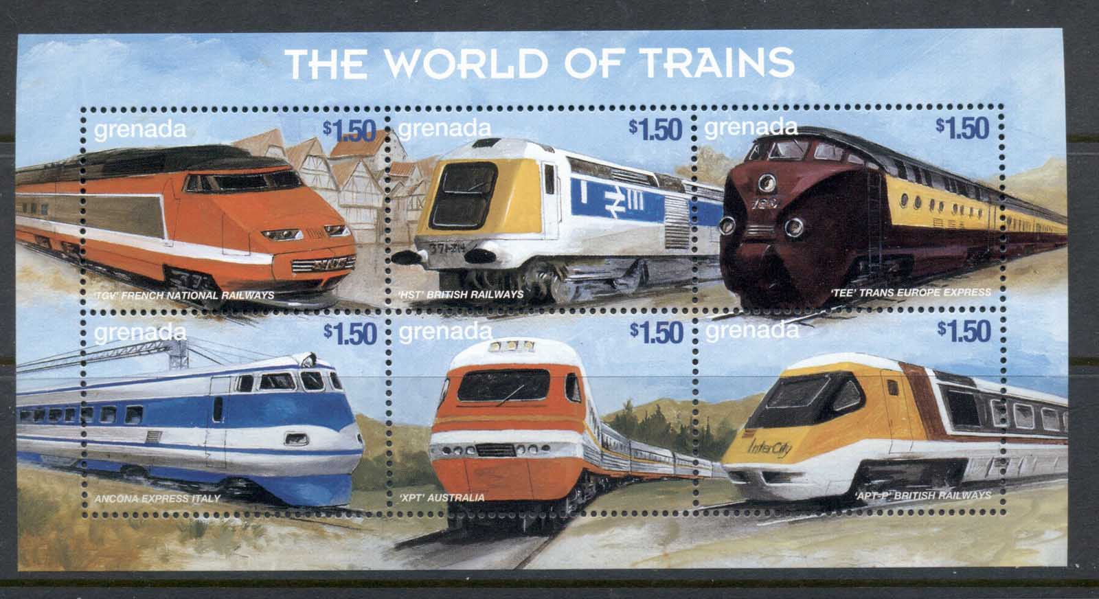 Grenada 1999 The World of Trains, TGV French National railways sheetlet MUH