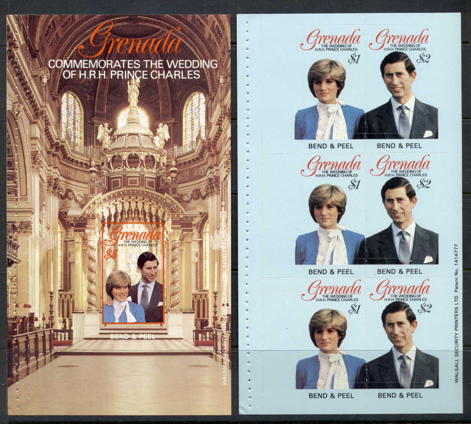 Grenada 1981 Royal Wedding Charles & Diana 2x P&S booklet panes MUH