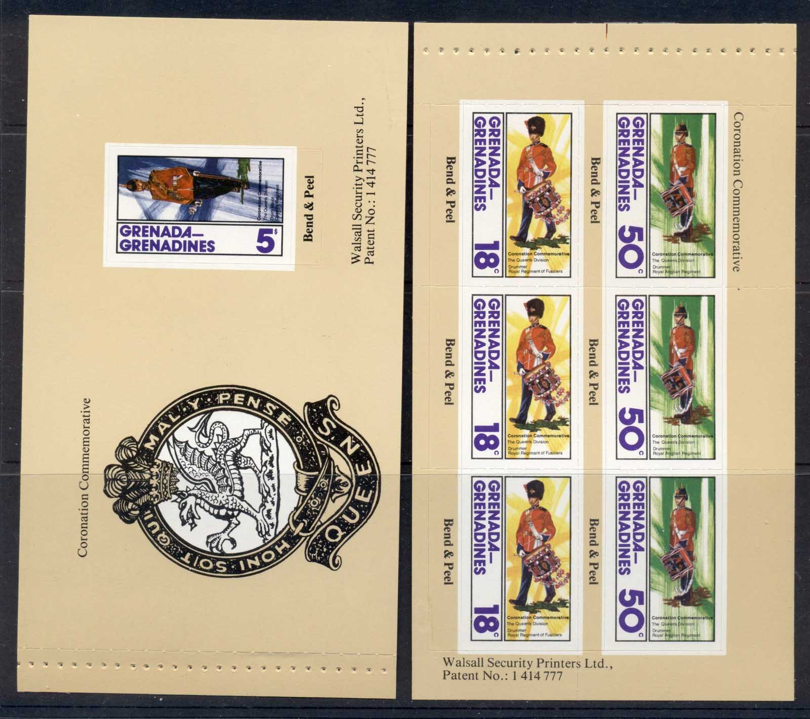 Grenada Grenadines 1978 QEII Coronation 25th Anniv 2xP&S booklet panes MUH