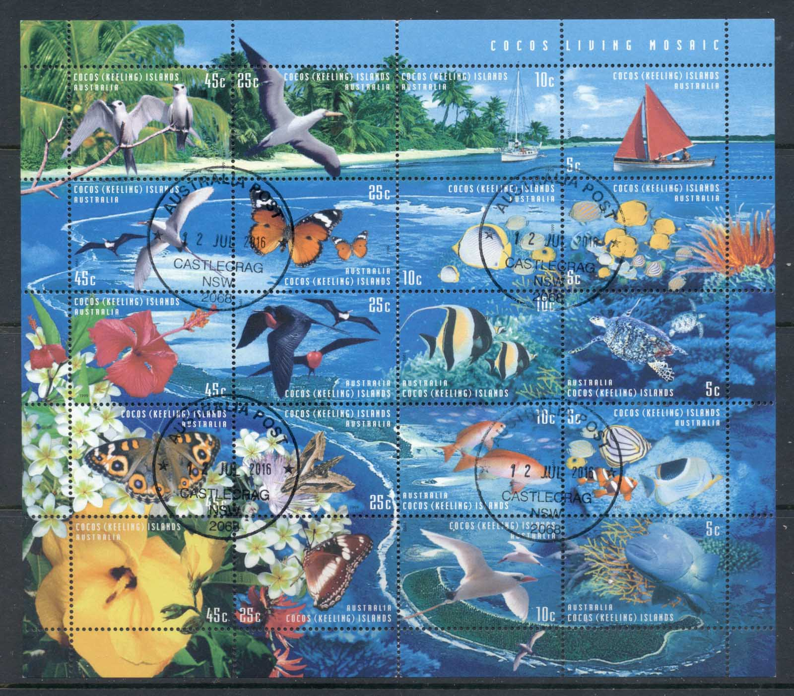 Cocos Keeling Is 1999 Marine Life A Living Mosaic sheetlet CTO