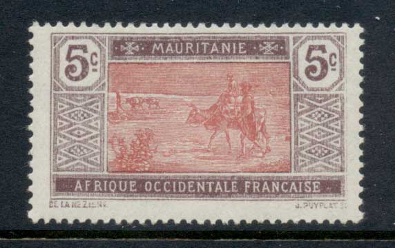 Mauritania 1913-38 Crossing desert 5c brown violet & rose MLH