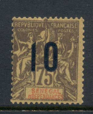 Senegal 1912 Navigation & Commerce 10c on 75c Surch MLH