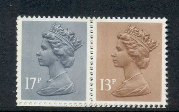 GB 1984 Machin 13p chestnut LB,17p grey-blue 2B MUH