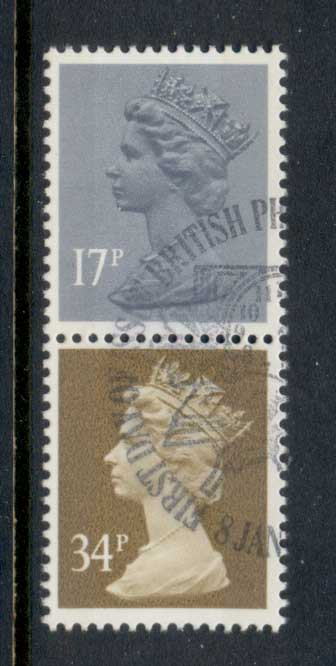 GB 1984 Machin 17p grey-blue 2B, 34p ocher brown 2b FU - Click Image to Close