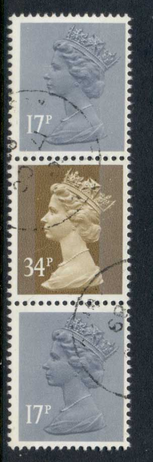 GB 1984 Machin 2x17p grey-blue 2B, 34p ocher brown 2b FU