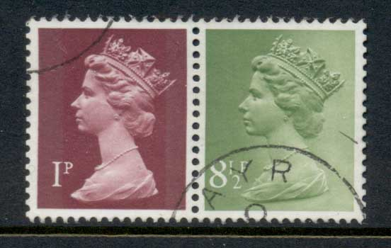 GB 1977 Machin 1p crimson 2B, 8.5p yellow green 2B FU