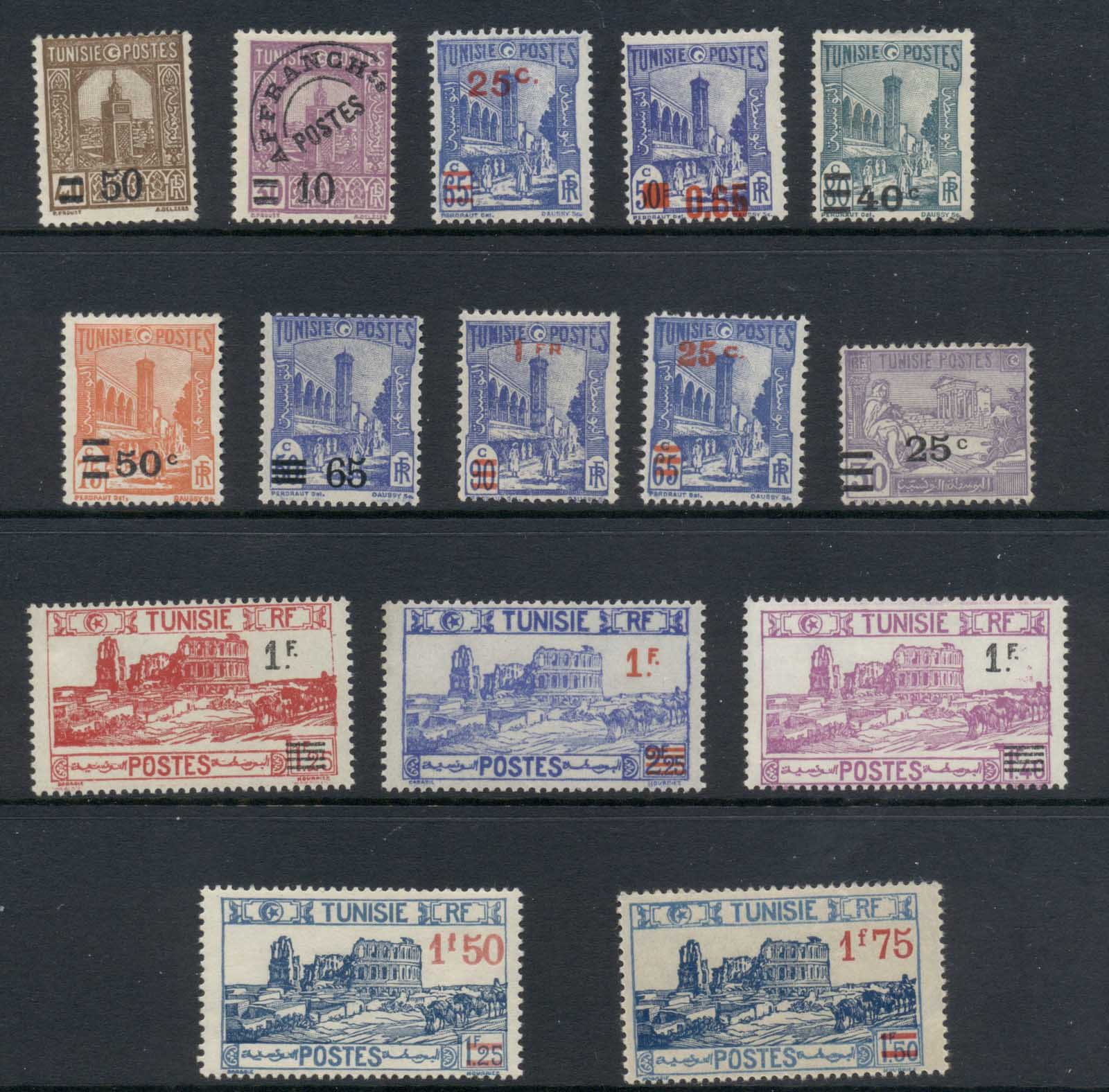 Tunisia 1937 on Surcharges Asst MLH