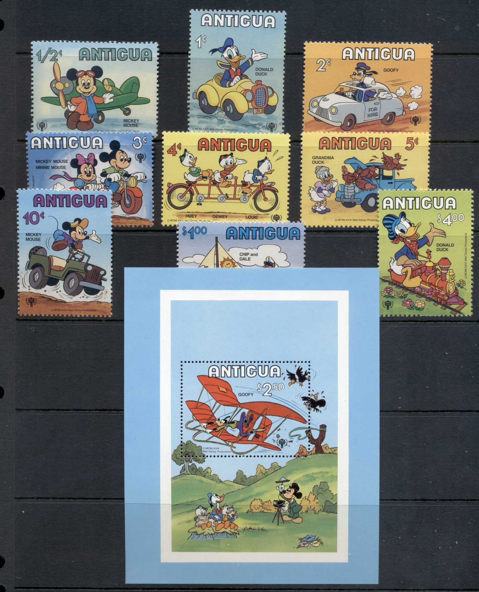 Antigua 1979 IYC International year of the Child, Walt Disnet Mickey Mouse + MS MUH