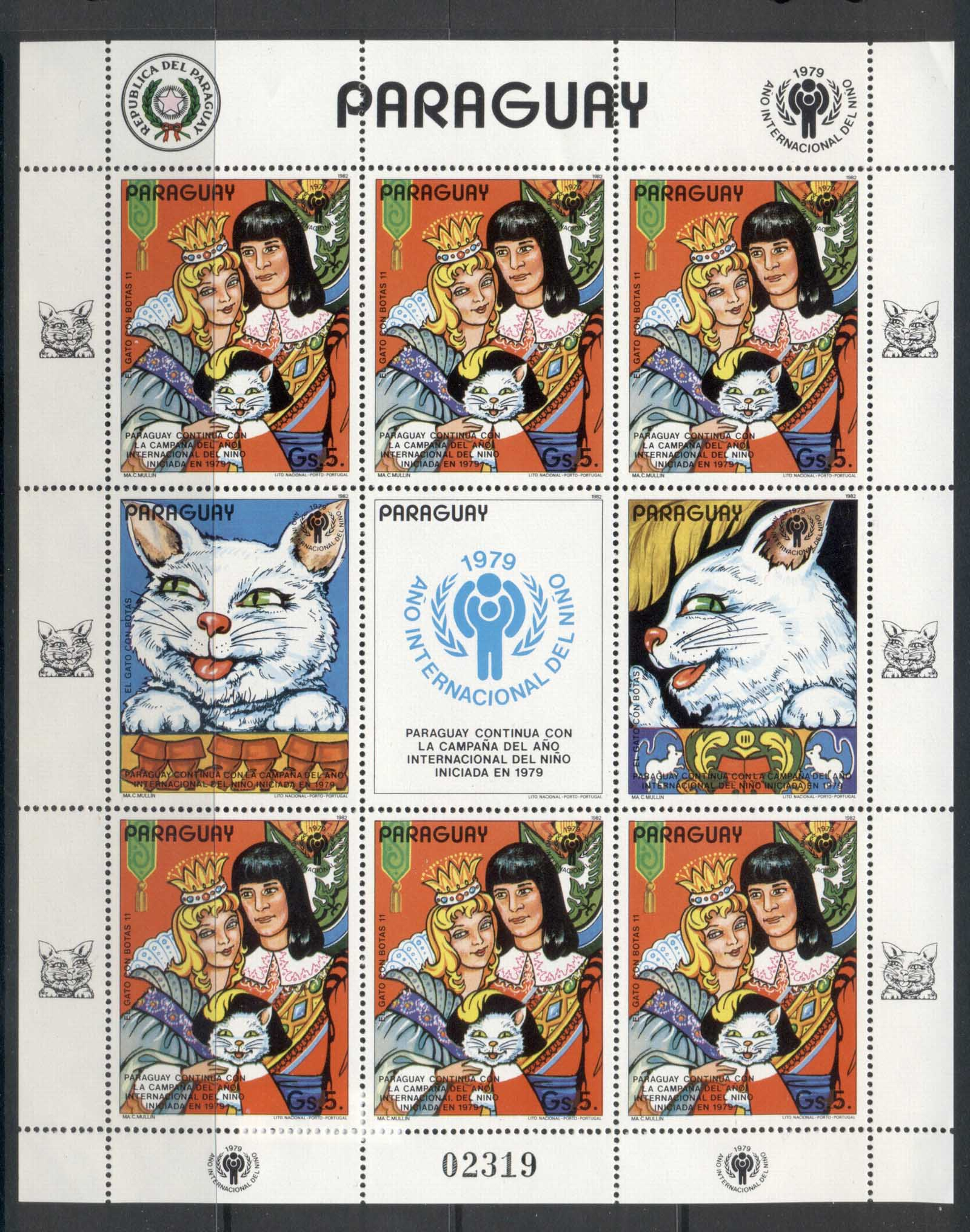 Paraguay 1979 IYC International year of the Child, Puss in Boots sheetlet MUH