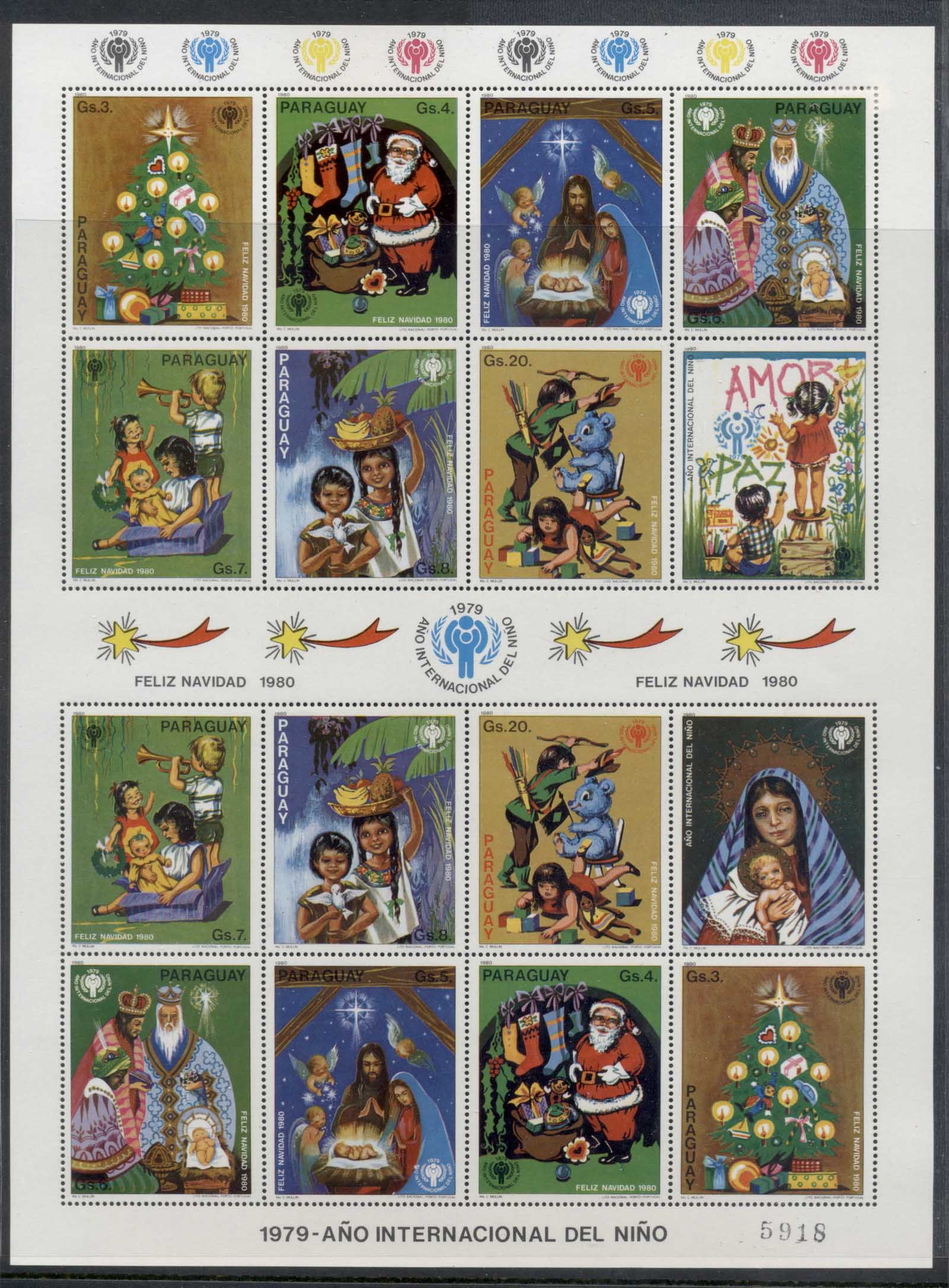 Paraguay 1980 IYC International year of the Child Xmas sheetlet MUH