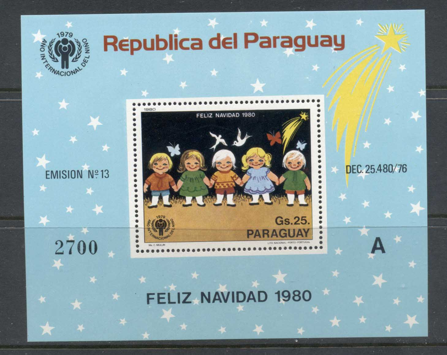 Paraguay 1980 IYC International year of the Child Xmas MS MUH