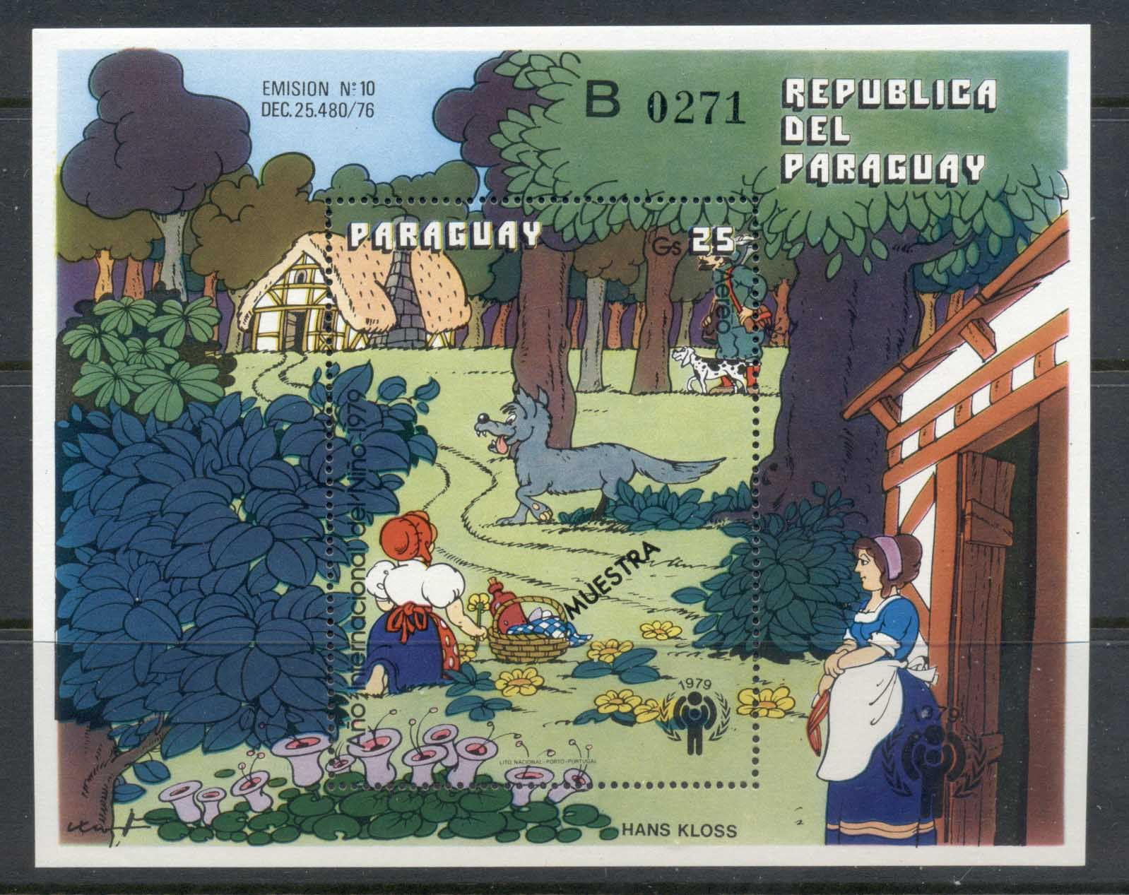 "Paraguay 1979 IYC International year of the Child Little Red Riding Hood MS ""Muestra"" MUH"