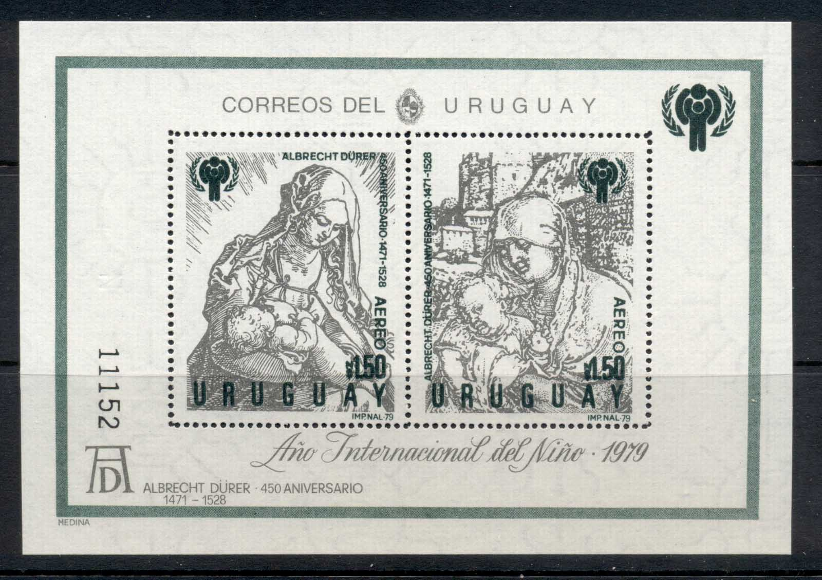 Uruguay 1979 IYC International year of the Child, Albrecht Durer MS MUH